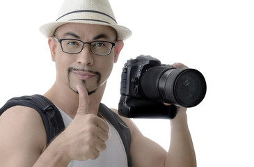 man traveler smart muscle photographer on white background