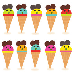 Funny ice creams vector