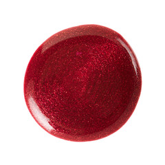 Red nail polish stain on white, clipping path