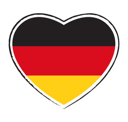 Heart flag of Germany. Flagge Deutschland. Drapeau allemand.