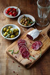 Mediterranean-Style antipasti on a Wooden TablE