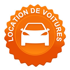 location de voitures sur bouton web denté orange