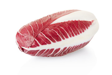 Radicchio, red salad on white, clipping path