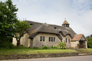 Thatched church St Agnes Freshwater Bay Isle of Wight