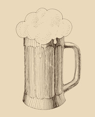 pint of beer in vintage engraving style