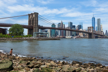 Lower Manhattan and Brooklyn bridge in New York - USA