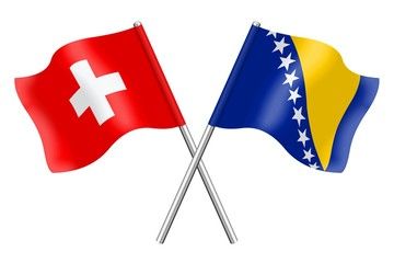 Flags: Switzerland and Bosnia-Herzegovina