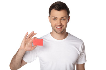 Closeup of a male holding blank credit card
