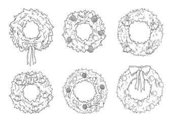 many christmas wreaths vector