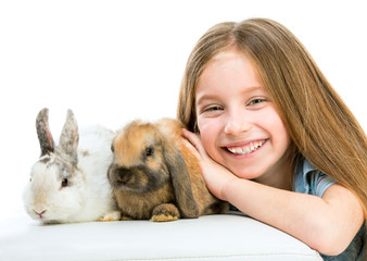 little girl with rabbitsd