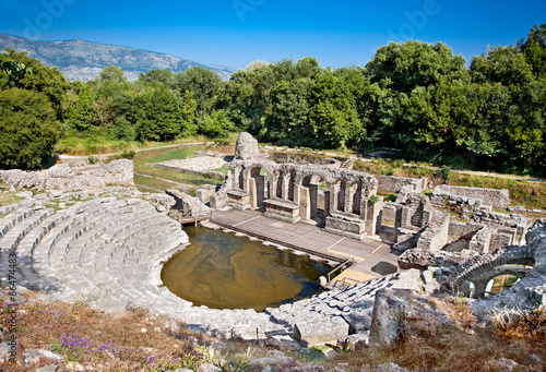 Amphitheater of the ancient Baptistery at Butrint, Albania. - 66474483