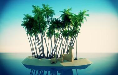 Isola tropicale, vacanza, naufragio, cartoon