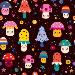 cute mushrooms seamless pattern