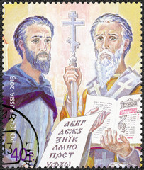 RUSSIA - 2013: shows Apostles Cyril and Methodius