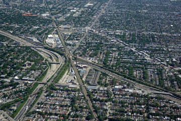 Aerial view of Chicago expressway traffic