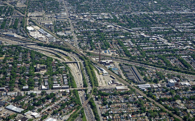 Aerial view of Chicago traffic and expressway interchanges