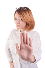 Attractive lady making stop gesture