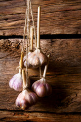 Garlic on a cord.