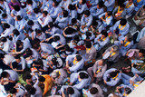 Impression, overcrowded of buddhist at Pagoda on anniversary poster