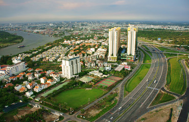 Impression panorama of Ho Chi Minh city
