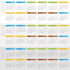 français calendrier 2015 - 2017