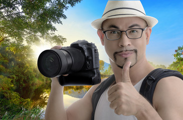 man traveler smart photographer on landscape background