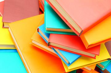 Many multi-coloured books.