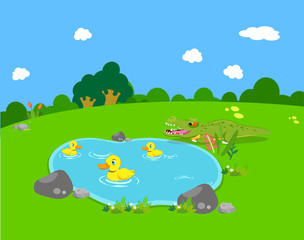 Farm animals with ducks and alligator
