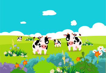 Farm animals with cows
