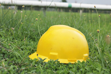 yellow hard hat on green grass