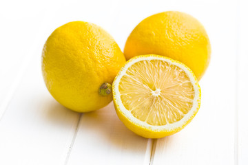 fresh lemon on kitchen table