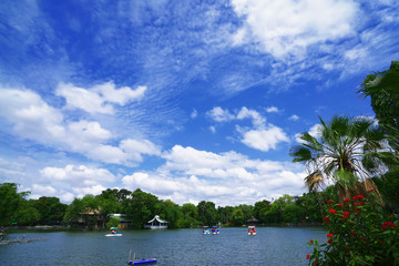 Lake in national park with beautiful blue sky