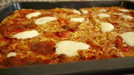 Home made pizza close up motion view