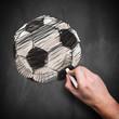 gemalter Fußball auf Kreidetafel