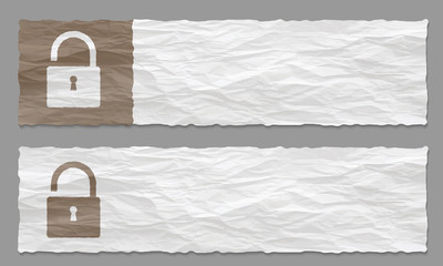 set of two banners with crumpled paper and padlock