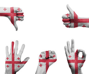 Hand set with the flag of Georgia