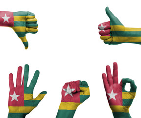 Hand set with the flag of Togo