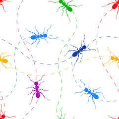Seamless pattern color ant