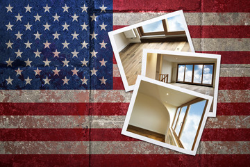 grunge flagged USA background with renovated home on Instant fra
