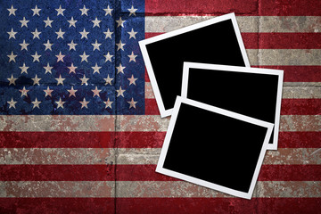 grunge flagged USA background with Blank space on Instant frame