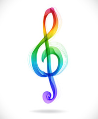 Color abstract treble clef