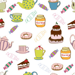 Seamless pattern with tea and cake.