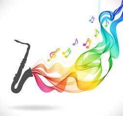 Dark gray saxophone icon with color abstract wave