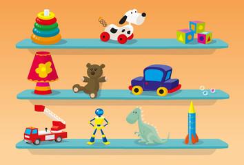 Etagères de jouets d'enfants