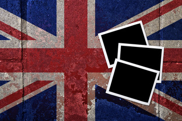 grunge flagged UK background with Blank space on Instant frame