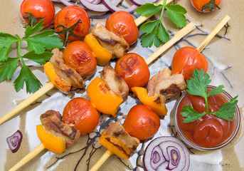 skewers of meat and vegetables. horizontal photo.