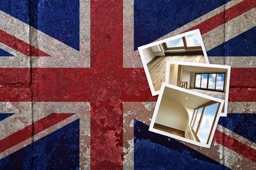 grunge flagged UK background with renovated home on Instant fram