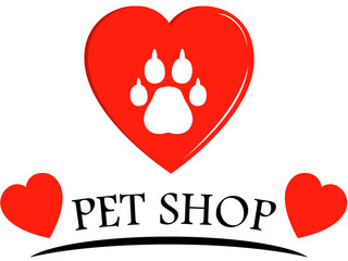 pet shop icon with hearts