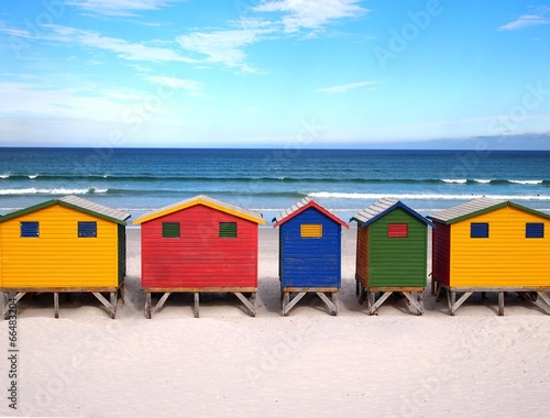 Row of wooden brightly colored huts. South Africa. - 66483204
