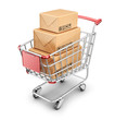 Market shopping cart with cardboard box. 3D Icon isolated